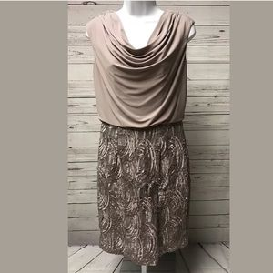 ADRIANNA PAPELL Cocktail Evening Dress Taupe
